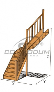 Dřevěné schody - VALBY se středovým lomením