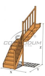 Dřevěné schody - HARMONIE se středovým lomením KV 2720+30