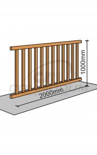 Dřevěné schodiště - Galerie standardní výplň - délka 2000mm