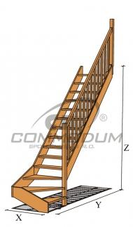 """Dřevěné schody - Akce!! VALBY spodní lomení KV2850 """"90"""""""