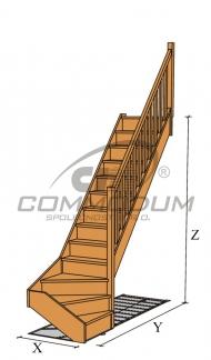 Dřevěné schodiště - HARMONIE spodní lomení KV2720+30