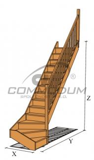Dřevěné schody - JANA spodní lomení KV 3000+30