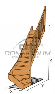 Dřevěné schodiště - LARIX spodní lomení KV 3000