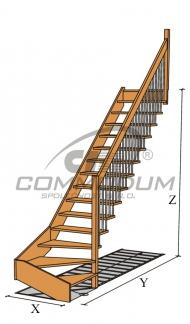 Dřevěné schodiště - !!!! NOVINKA !!!! LIANA třmenové schodiště