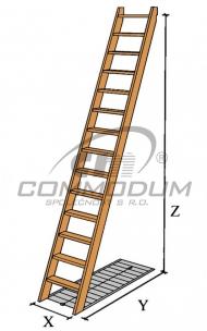 Dřevěné schodiště - Přímé schodiště - LIMBA 9 KV=2800