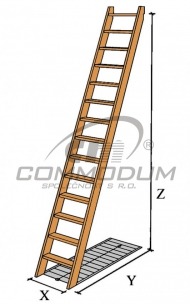 Dřevěné schody - Přímé schodiště - LIMBA 15 KV=2870