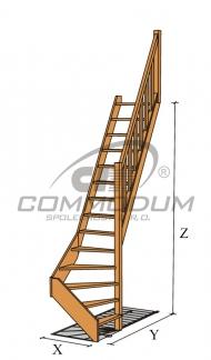 Dřevěné schody - LIMBA spodni lomení KV 2940