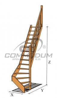 Dřevěné schodiště - LIMBA spodni lomení KV 3000