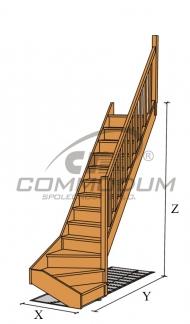 Dřevěné schody - NATUR spodni lomení KV 2800