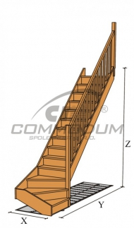 Dřevěné schody - VALBY spodní lomení KV 2090 mini